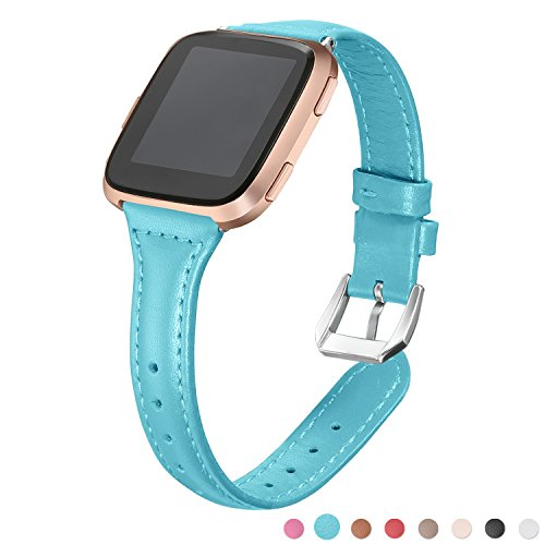 bayite Bands Compatible Fitbit Versa, Teal, Replacement Accessories Slim Genuine Leather Band Strap Women Men, 5.3