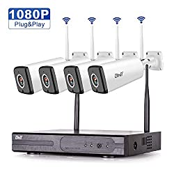 Security Camera System Wireless, BNT 4Channel NVR & 4 HD Wireless Waterproof Outdoor Indoor Surveillance Video Cameras Remote Live View & Playback Night Vision Security Camera System No Hard Drive