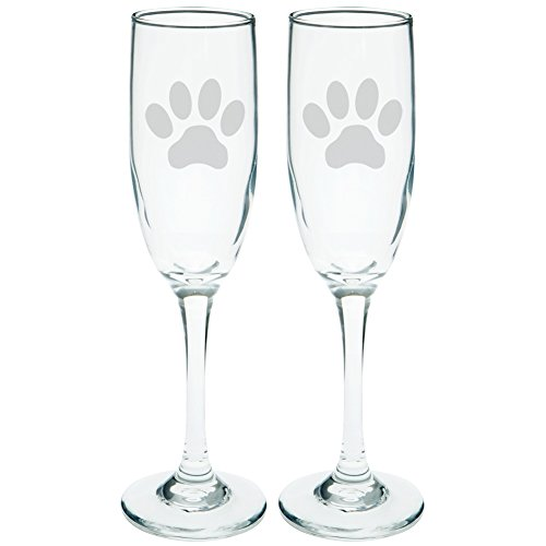 Glass Of Champagne Costume (Dog Paw Etched Champagne Glass Set)
