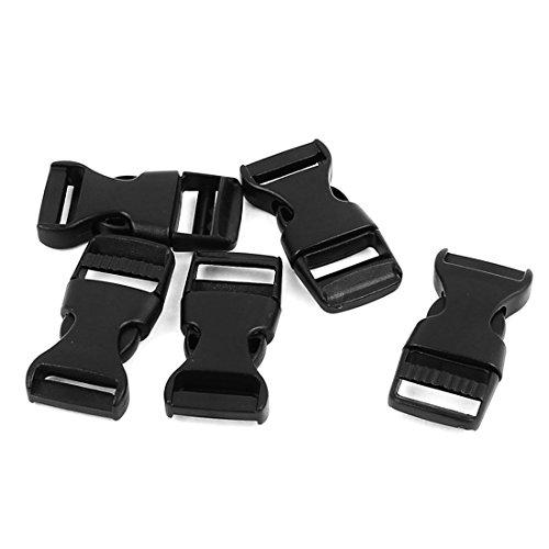 Uxcell Plastic Side Quick Release hebillas Cierre Cincha 15mm 5pcs Negro