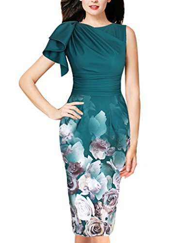 VfEmage Women's Celebrity Elegant Ruched Wear to Work Party Prom Bodycon Dress 2962 GRN S