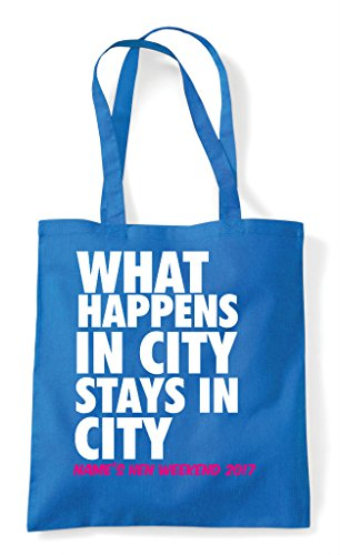 Party Customised City Sapphire Shopper Your In What Bag Personalised Stays Happens Do Tote Hen dwRYxnd