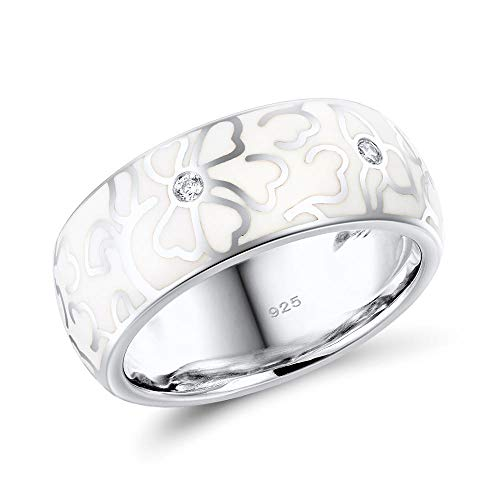 (Santuzza 925 Sterling Silver Ring Delicate White Enamel Flower White Cubic Zirconia Fashion Jewelry Handmade (7.5))