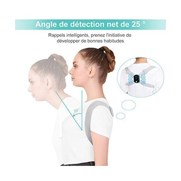 EKUPUZ Correcteur de Posture Dos pour Homme & Femme & Enfant, Ceinture Dorsale LED Intelligente Vibration Rappel…