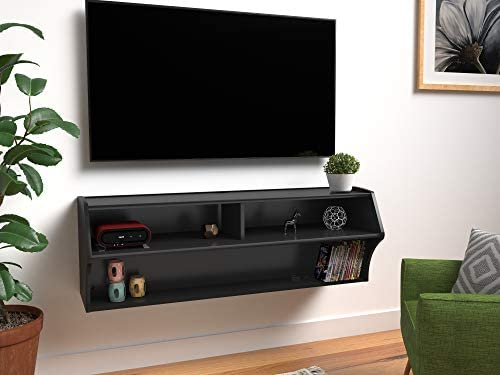 "Prepac Altus Wall Mounted Audio/Video Console, 48.5""W x 16.75""H x 16""D, Black"