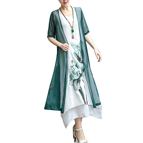 Block Printed (Honwenle Women's Two Piece Retro Round Neck Asymmetric Hem Color Block Printed Long Cotton Linen Maxi Dress)