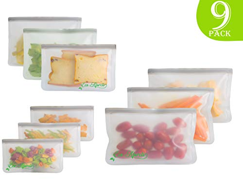 Eco-Aforcli Premium Reusable Storage Bags, Set of 9 | Great Idea For Snack, Lunch Sanwiches, Fruit, Baggies, Make-Up, Travel Items | EXTRA THICK | Extra, Standard & Medium Size | Home Organization