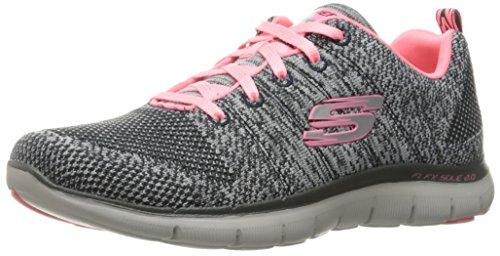 - Skechers Sport Women's Flex Appeal 2.0 Fashion Sneaker, Charcoal/Coral Knit, 10 M US