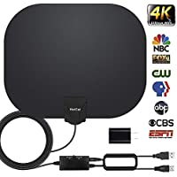 TV Antenna, HDTV Antenna Indoor Digital Amplified HD Antennas 60-95 Miles Range for Free 4K 1080P VHF UHF Local Channels with Powerful Amplifier Signal Booster- Support All TV's(16.5ft Coax Cable)