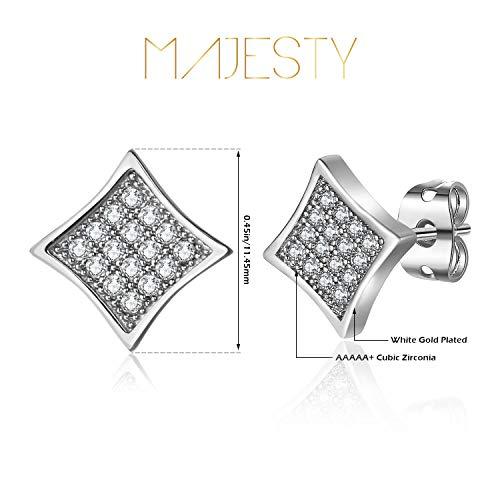 MAJESTY Synthetic Diamond Earrings for Men Women CZ Stud Earrings Square Earrings for Men Women White Gold Plated Cubic Zirconia Stud Earrings