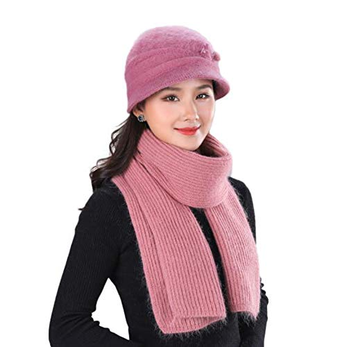 - Sunny Hats Scarf Cap Adult Warm Women Winter Ski Knit Beanie Thick Lining (Color : Deep Pink, Size : ONE Size)