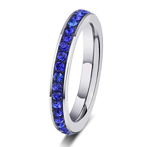 Stackable Ring Artcarved - Love Dream Stainless Steel 4mm Wedding Band Cubic Zirconia Half Eternity Stackable Engagement Ring Size 7-11