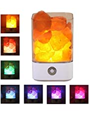 Himalayan Salt Lamp Natural Crystal Salt Rock Lamps Night Light USB Chargable Gift with Adjustable 7 Colors Dimmer Control