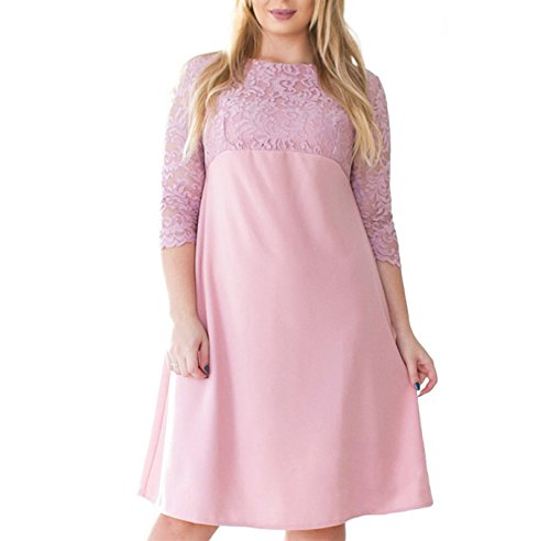 JIANGTAOLANG Summer Lace Patchwork Dress Women Plus Size ...