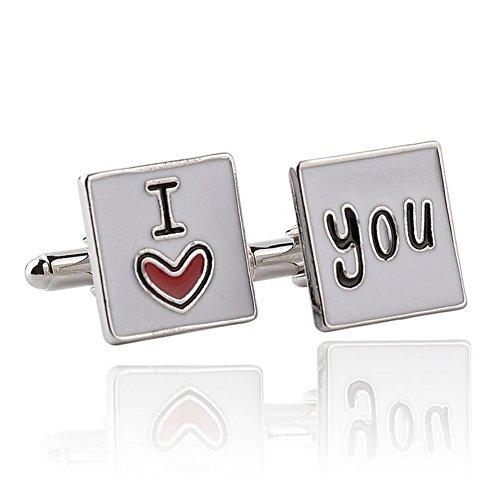 - MAOFA 2pcs Titanium steel jewelry Cufflinks i love you Couple cufflinks/French shirt sleeve nails,1.81.8 cm