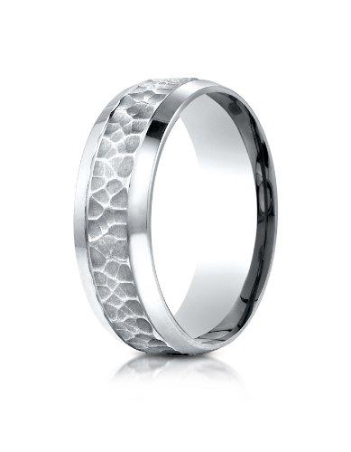 Palladium Beveled (PriceRock Palladium 7.5mm Comfort Fit Hammered Finish Beveled Edge Design Wedding Band Ring for Men & Women Size 4 to 15)