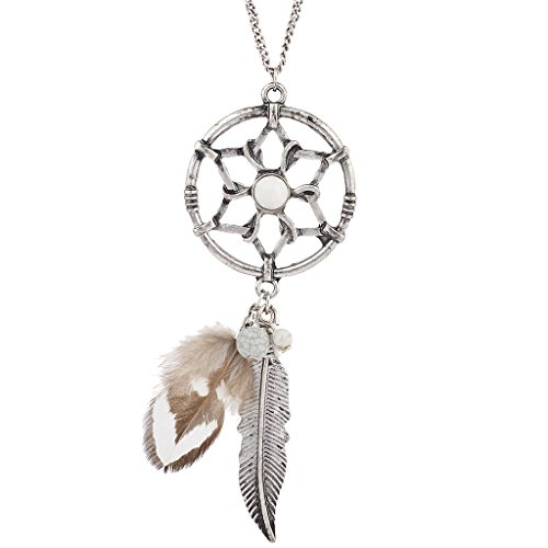(Lux Accessories Burnish Silver Tone Feather Boho Dreamcatcher Pendant Necklace)