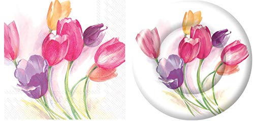 Olive Occasions Tulip Disposable Party Supplies 16 Dessert Paper Plates and 16 Beverage Napkins