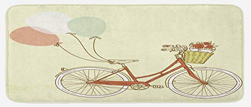 Lunarable Romantic Kitchen Mat, Vintage Retro Bicycle Bike with Baloons Basket with Flowers Artwork, Plush Decorative Kitchen Mat with Non Slip Backing, 47 W X 19 L Inches, Pink Blue and Eggshell