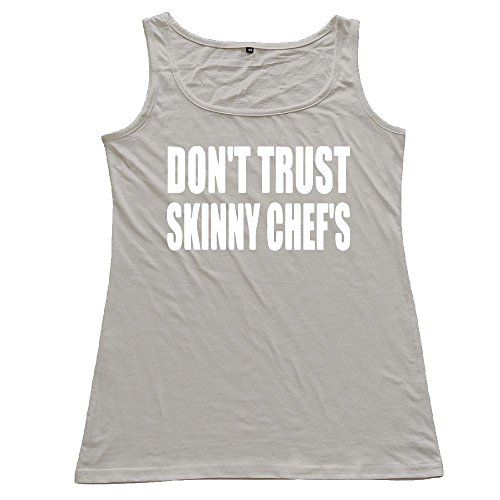 ZhiqianDF Women DON'T TRUST SKINNY CHEF'S Cotton Tank Top Particular T-Shirts Gray M