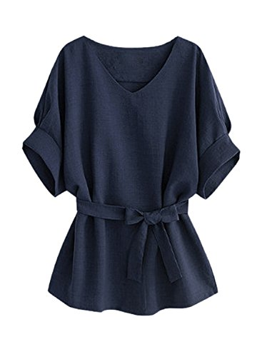 Azbro Mujer Blusa Cintura con Corbata Mangas Cortas Cuello V Color Sólido Gris Claro