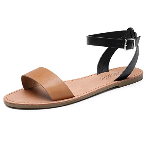 SANDALUP Women's Soft Faux Leather Open Toe and...