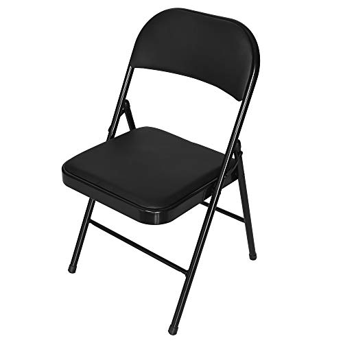 (National Folding Chair Steel Frame Upholstered PU Leather Seat Back Folding Soft Sponge Cushion Public Seating for Office Training (Black))