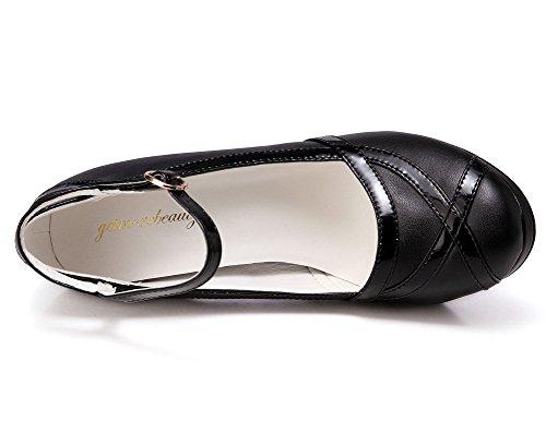 Dress Ankle Retro Getmorebeauty Black Strap High Vintage Black White Pumps Womens And Heels 00FxHz
