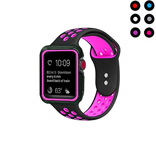Compatible with Apple Watch Band with Case 38mm 40mm, Vitech Soft Silicone Sport iWatch Band with Shock-Proof Protective Case for Series 3/2/1 (38mm) Series 4 (40mm) (Black/Rose, 38mm/40mm S/M)