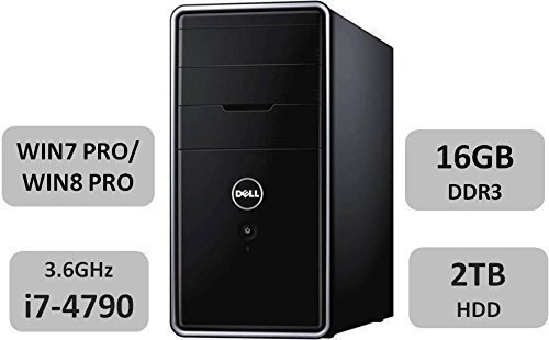 Newest Dell Inspiron 3847 Desktop, Intel Quad Core i7-4790 Processor (8M Cache, up to 4.0 GHz), 16GB DDR3 RAM, 2TB 7200 rpm HDD, DVD/CD Drive, Bluetooth, Windows 7 Professional (Dell Compact Desktop)