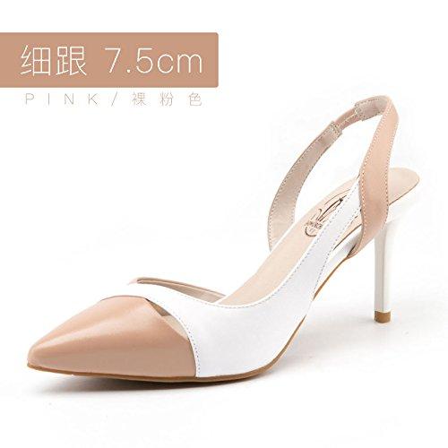 alti Stitching 7 pink tacco alti Femminile Jqdyl scarpe Bare alto Sandali Tacchi Tacchi Fashion Nuove Sandals Buckle 5cm Estate Baotou col HqwOPC