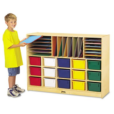 Jonti-Craft 0416JC Sectional Cubbie-Tray Mobile Unit with Colored Trays