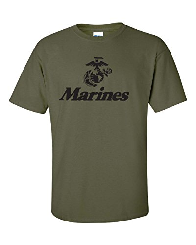 Men's Marine Corps Anchor Eagle Military Tee Shirt-Small Military Green (ATA426) Marines Mens Tee