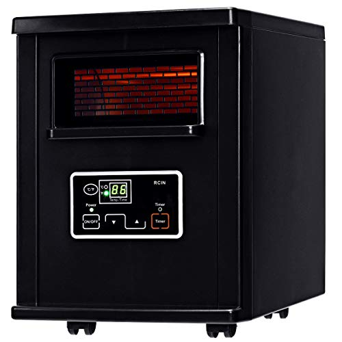 COSTWAY Infrared Quartz Heater, 1500W Portable Space Heater with Digital Thermostat, Remote Control, overheated Protection, Electric Heater with Wheels for Bedroom, Home& Office, Black (The Best Quartz Infrared Heater)