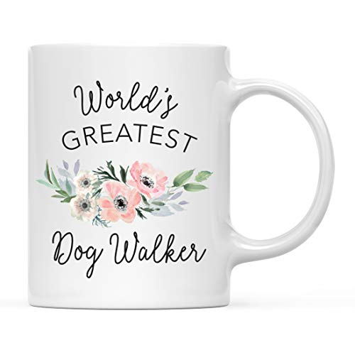 Andaz Press 11oz. Coffee Mug Gift for Women, World's Greatest Dog Walker Mug, Bohemian Pink Anemone Floral Flower, 1-Pack, Drinking Cup Birthday Christmas Promotion Graduation Gift Ideas for Her