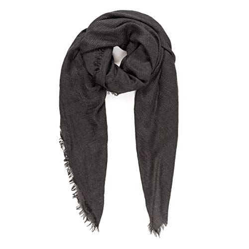Scarves for Women: Lightweight Solid color Fall Winter Fashion Scarf by MIMOSITO (Waffle Textured, Dark Gray)