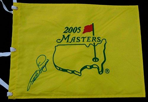 Bernhard Langer Autographed 2005 Masters Golf Flag (2x Champion!) - Autographed Golf Pin ()