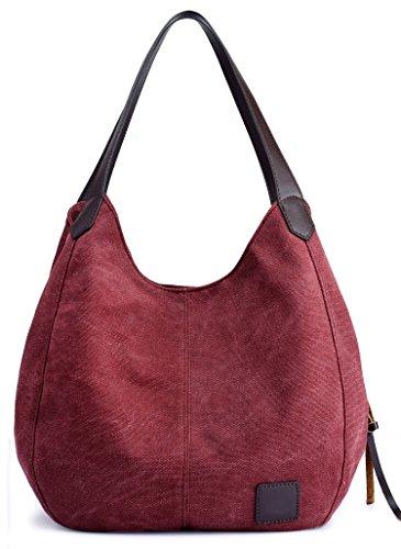 ArcEnCiel Fashion Women's Cotton Canvas Handbags Shoulder Bags Totes Purses (Maroon)