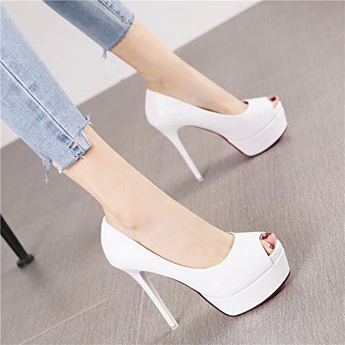 HRCxue Pumps Mode Plattform Wasserdichte Plattform Fisch Mund High Heels schwarz Wilde Stiletto einzelne Schuhe Frauen