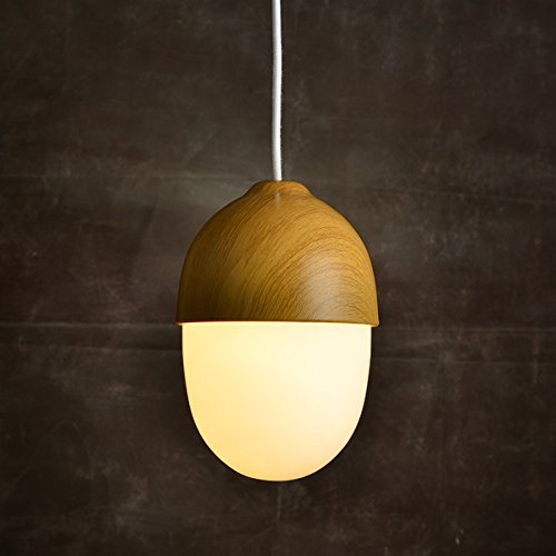 MASO HOME, The Modern Elegance Style of Pendant Hanging Lamps, Natural Wood Color based with Glass Shade Pendant Ceiling Light, Retro Industrial Lamp Vintage Unique Design (Acorn Shape)