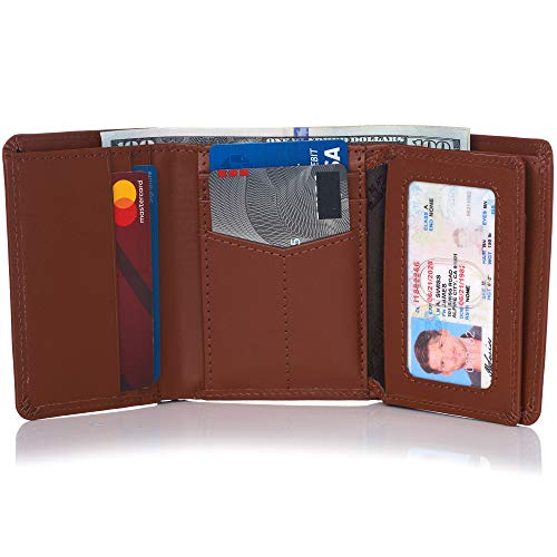Alpine Swiss RFID Mens Wallet Deluxe Capacity Trifold With Divided Bill Section Smooth Finish Tan ()