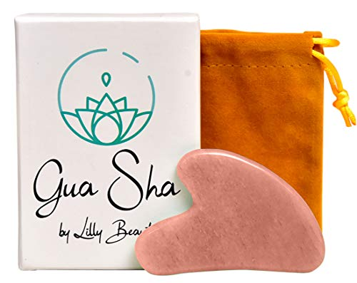 LillyBeauty Gua Sha Massage Tool - Great Scraping Tool Used in Physical Therapy.Perfect Facial Massager for Fine Lines, Beautiful Skin, Detox and Remedy for Puffy Eyes and Forehead Wrinkles (Pink)