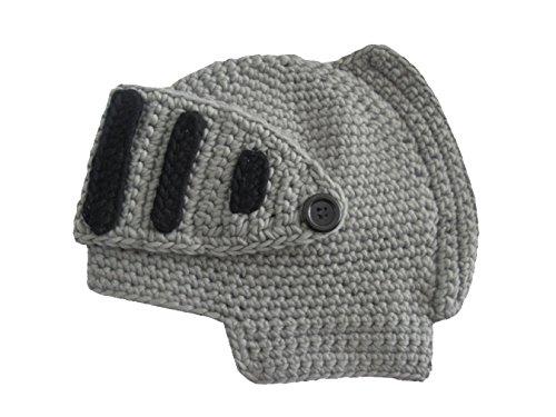 Qinni-shop Roman Cosplay Knight Helmet Visor Crochet Knit Beanie Hat Winter Mask Cap For children (Three To Seven Years Old, Grey)
