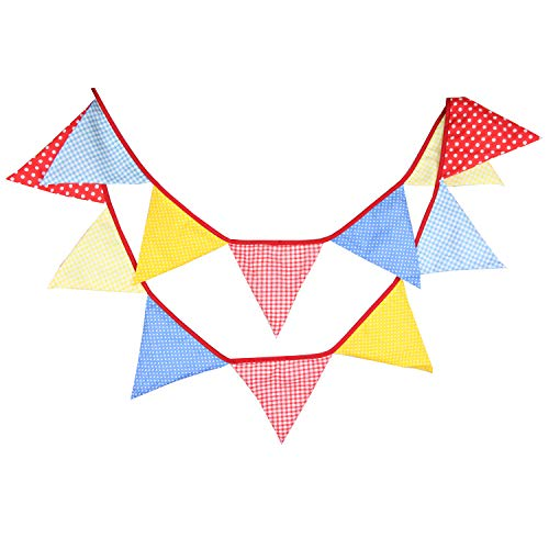 INFEI 3.2M/10.5Ft Multi-Colored Floral Fabric Triangle Flags Bunting Banner Garlands for Wedding, Birthday Party, Outdoor & Home Decoration (Red & Yellow & -