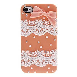 GJY Sweet Style Bowknot and Lace Covered Hard Case with Nail Adhesive for iPhone 4/4S (Assorted Colors) , Yellow