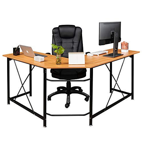 FCH Reversible L Shaped Desk Modern L-Shape Corner Desk 3-Piece Home Office Computer Desk with Reversible Tabletop,63.2