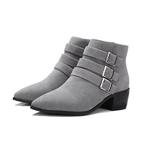 European Imitated Womens Boots Business Gray Buckle AdeeSu Suede Style qzPOEcWp