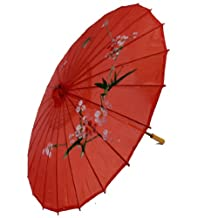 """uxcell® Plum Blossom Print Red Bamboo 30.7"""" Dia Chinese Oriental Umbrella Parasol"""