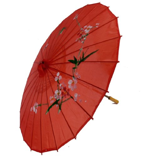 uxcell Plum Blossom Print Red Bamboo 30.7