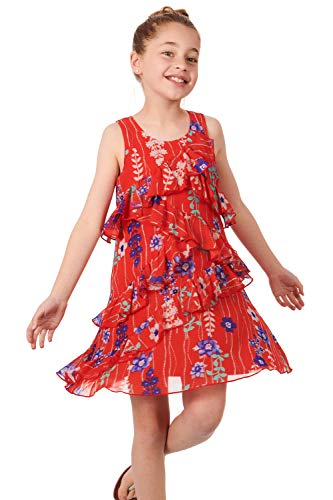Truly Me, Big Girls' Sleeveless A-Line Dress with Cascading Ruffle Detail, Size 7-16 (Red Multi, 12)
